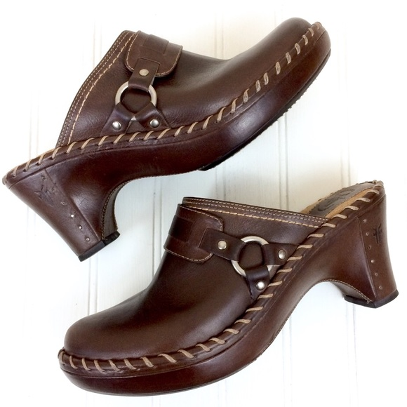 f83d24256464 Frye Shoes - Frye dark brown leather Charlotte harness clogs